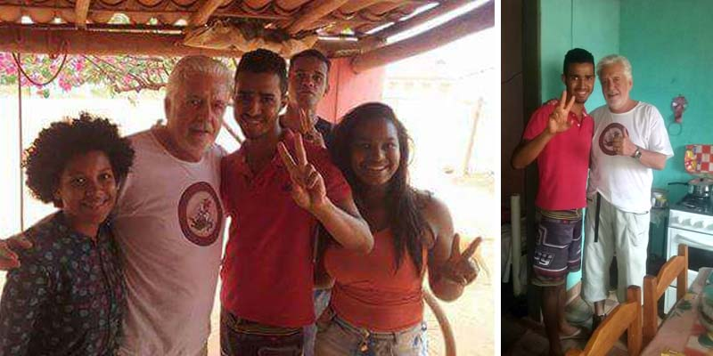 O governador Jaques Wagner com moradores do Assentamento Baixão | FOTO: Montagem do JC/Facebook |
