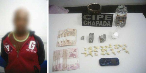 'Fabinho' foi preso com 25 papelotes de cocaína, uma pedra 20 gramas da mesma droga e pequenos tabletes de maconha | FOTO: Cipe-Chapada |