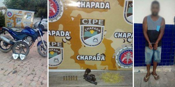 Os policiais da Cipe-Chapada abordaram o acusado e encontraram um revólver calibre 38 | FOTOS: Cipe-Chapada |