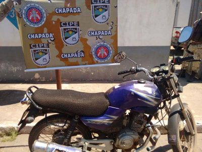 A motocicleta recuperada foi apresentada na Delegacia de Polícia de Piatã | FOTO: Divulgação/Cipe-Chapada |