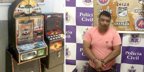 Duas ações da polícia resultaram na apreensão de máquinas, em Utinga, e a prisão de Erik Gomes, em Itaberaba | FOTO: Montagem do JC/Cipe-Chapada |