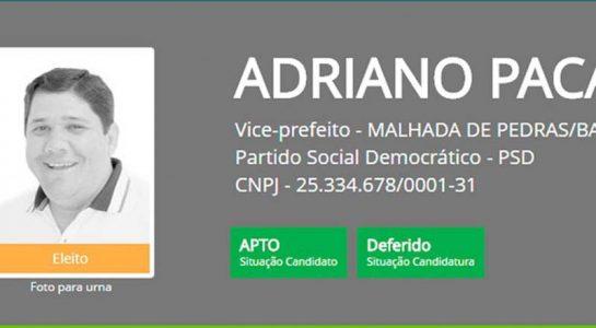 Adriano Paca (PSD) foi preso pela Polícia Federal | FOTO: Reprodução/DivulgaCand |