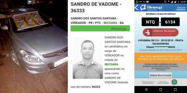 O veículo e o político foram apresentados à Polícia Civil do município de Ibicoara | FOTO: Montagem do JC/Cipe-Chapada |