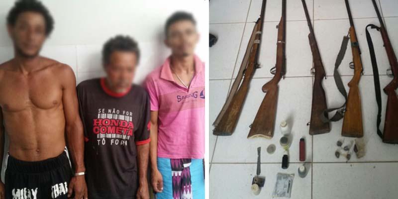 A polícia encontrou com os homens cinco espingardas, uma quantidade de espoleta, chumbo e pólvora, além de quatro trouxas de maconha | FOTO: Montagem do JC/Cipe-Chapada |
