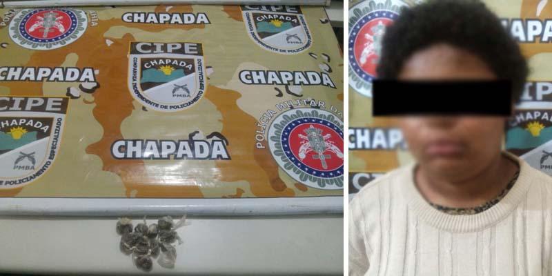 Foram encontradas com a menor, 10 trouxas de substância análoga a maconha | FOTO: Montagem do JC/Cipe-Chapada |